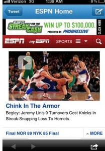 Jeremy Lin chink in the armor
