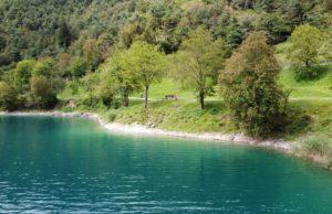Uno scorcio del Lago di Ledro dal drone